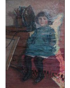 Giovanni Malesci, Anna seduta, olio su tela, 42x32 cm, 1919