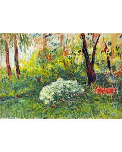 Giovanni Malesci, Azalee nel parco, olio su tavola, 70x50 cm, 1967