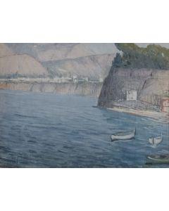 Giovanni Malesci, Paesaggio marino, olio su cartone, 30x40 cm