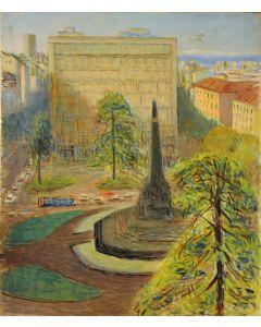 Giovanni Malesci, Veduta di Piazza 5 Giornate, olio su tela, 50x60 cm, 1966