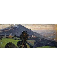Giovanni Malesci, Paesaggio, Oli su tavola, 10x23,5 cm, 1917