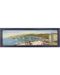 Scuola Francese, A.M. Porto, olio su tavola, 38x12.5 cm (con cornice)