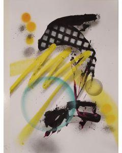 Parscha Mirghwameddin, Graff. N° 217, acrilico su carta, 30x40 cm, 2020