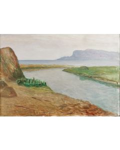 Giovanni Malesci, La Fiumara con veduta di Castiglione della Pescaia, olio su tela, 48,5x34 cm, 1966