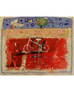 Domenico Gabbia, Fantasia fanciullesca 2, acrilico, oilbar e fusaggine, 40x50 cm