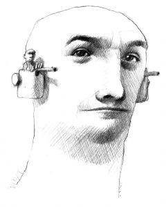 José Molina, Meglio prevenire che curare (che le persone sono molto cattive), grafite su carta, 31,8x33,5 cm, 1997