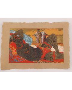Salvatore Fiume, Odalisca, serigrafia su paglia, 50x70 cm, prova d'artista
