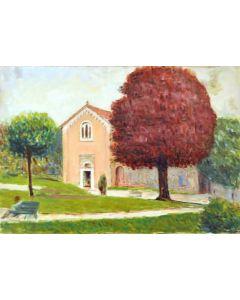 Giovanni Malesci, Padova Cappella degli Scrovegni, olio su tela, 34,5x49 cm, 1965