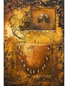 Enzo Rizzo, Genesi 2, olio e resina su tavola, 82x58 cm