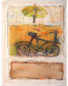 Domenico Gabbia, Fantasia fanciullesca 3, acrilico, oilbar e fusaggine, 50x70 cm