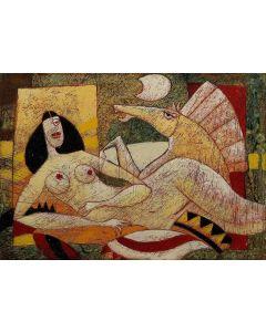 Franco Anselmi, Fiaba ironica 4, acrilico su tela, 50x70 cm