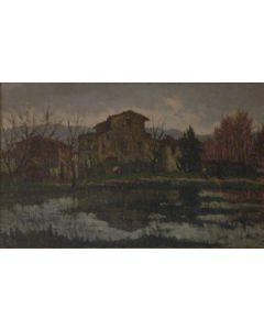 Giuseppe Comparini, Lo stagno, olio su tela, 94x64 cm, 1966
