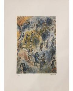 Marc Chagall, Festa del villaggio, litografia a colori, Ed. S.P.A.D.E.M. Paris, 1985, 50x70 cm