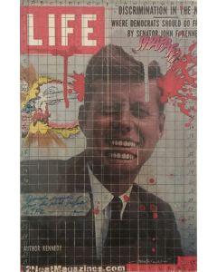 Enrico Pambianchi, JFK, collage, acrilico, olio, matite e resine su tavola con teca di plexiglass, 30x20 cm