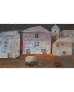 Domenico Gabbia, Fantasia fanciullesca 4, acrilico, oilbar e fusaggine, 60x120 cm