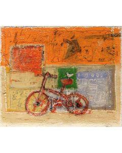 Domenico Gabbia, Fantasia fanciullesca 6, acrilico, oilbar e fusaggine, 60x70 cm