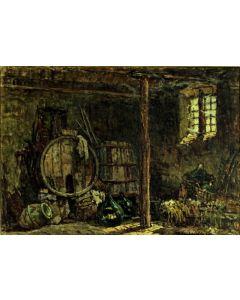 Giuseppe Comparini, Le botti, olio su tela, ,80x60 cm, 1967