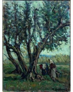 Giuseppe Comparini, La raccolta delle olive, olio su tela, 35x50 cm, 1969