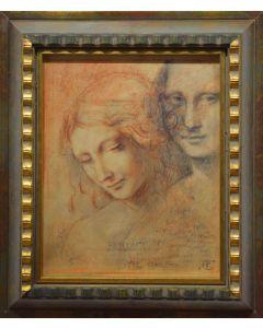 Giancarlo Prandelli, La Gioconda e la Scapiliata, matita e sanguigna su cartoncino 23.5x18.5cm