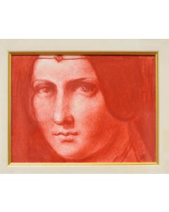 Giancarlo Prandelli, La Belle Ferroniere, matita a sanguigna su cartoncino 18x24cm