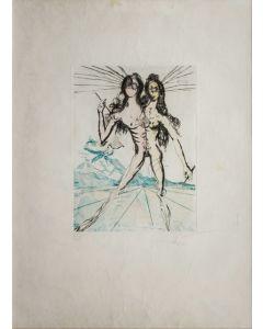 "Salvador Dalì, Bicefalo, da ""Gli amori di Cassandra"", incisione a punta secca, 48x66 cm, 1968"