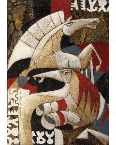 Franco Anselmi, Fiaba ironica 7, acrilico su tela, 70x50 cm