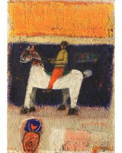 Domenico Gabbia, Fantasia fanciullesca 7, acrilico, oilbar e fusaggine, 70x50 cm