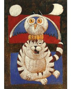 Franco Anselmi, Fiaba ironica 6, acrilico su tela, 70x50 cm