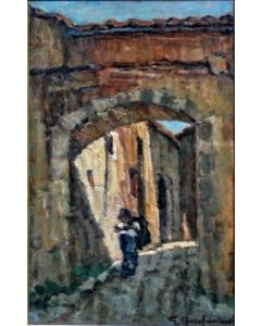 Giuseppe Comparini, Vicolo di paese con viandante, olio su tela, 25x50, 1969