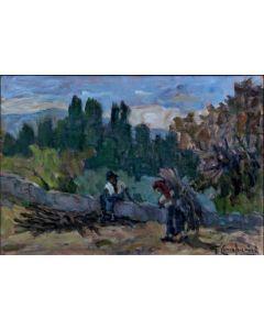 Giuseppe Comparini, Raccolta della legna, olio su tela, 50x35 cm, 1969