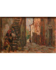 Giuseppe Comparini, Scaletta sul vicolo, olio su tela, 27x18, 1971
