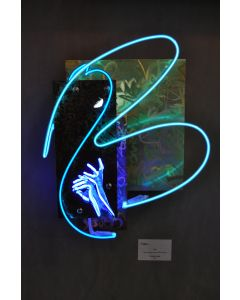 Christian Gobbo, Icaro, neon su ferro, rame, ottone, 38x46x18 cm