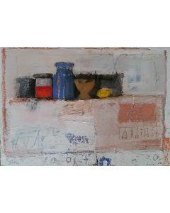 Domenico Gabbia, Fantasia fanciullesca 8, acrilico, oilbar e fusaggine, 80x100 cm