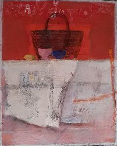 Domenico Gabbia, Fantasia fanciullesca 9, acrilico, oilbar e fusaggine, 80x70 cm