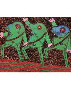 Enrico Baj, Parata, tecnica mista a colori su base litografica, 70x100 cm, 1972