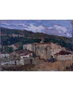 Giuseppe Comparini, Borgo rurale, olio su tela, 42x30 cm, 1965