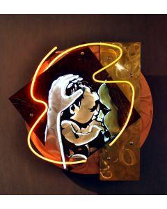 Christian Gobbo, Maternità, neon su ferro, rame, ottone, 54x57x20 cm