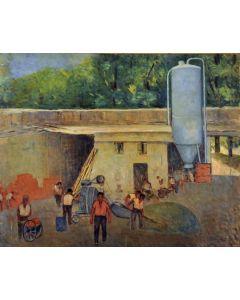 Giovanni Malesci, Nasce una casa, olio su tavola, 64x52 cm, 1964