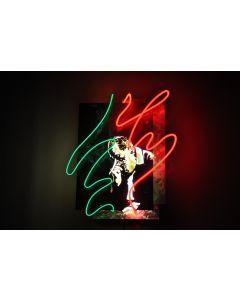Christian Gobbo, C'era una volta...un re!, neon su ferro, rame, ottone, 49x59x24 cm
