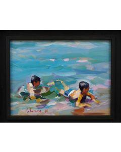 Claudio Malacarne, Children 3, olio su tela, 40x30 cm