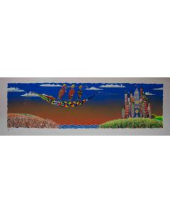 Meloniski da Villacidro, Concertino per una metropoli sognata, serigrafia e collage ritoccata a mano, 142x50 cm