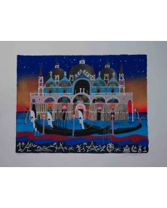 Meloniski da Villacidro, Venezia, serigrafia e collage ritoccata a mano, 70x100 cm