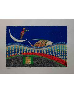 Meloniski da Villacidro, Pesce sognatore, serigrafia e collage ritoccata a mano, 80x60 cm
