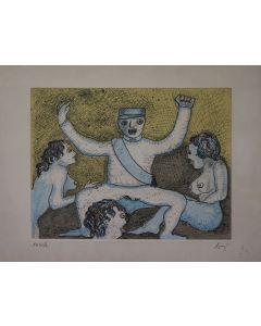 Enrico Baj, Militare danzante, acquaforte, 70x50 cm, 1972
