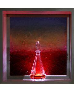 Andrea Morreale, Achille va in battaglia, olio su tela, cristallo, 2 dl Campari, illuminazione a led con controllo acustico, 63x63x15 cm