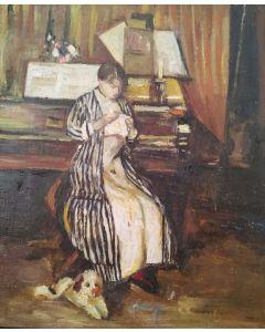 Scuola Francese, Al pianoforte, olio su tavola, 21x17.5cm