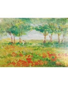 Daniela Penco, Alberi, olio su cartone, 18x13 cm