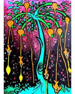 La Pupazza, L'albero dei mandarini, acrilico e spray su carta, 50x70 cm
