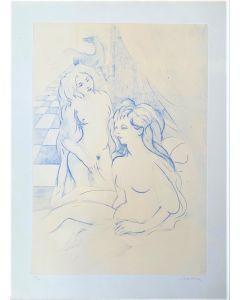 Aligi Sassu, Figure femminili, litografia, 60x45 cm firmata e numerata 36/90