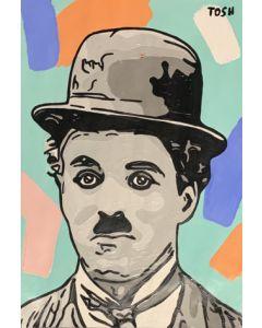 Andrew Tosh, Chaplin, acrilico e smalto su carta, 33x48cm, 2020
